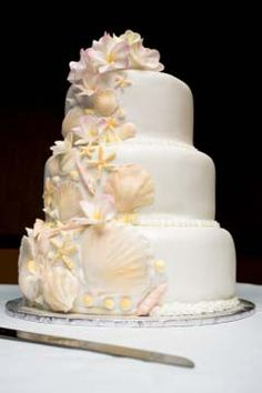Three tier white seashell cake, perfect for a beach theme wedding