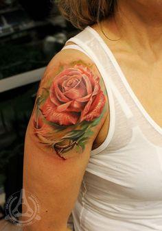 pink rose shoulder tattoo - 40 Eye-catching Rose Tattoos