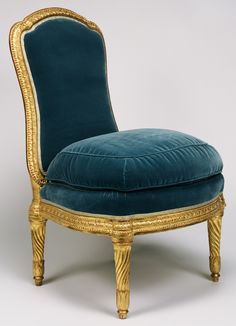 "Si""de Chairs (chaises à la reine),"" Jean Boucault, about 1765 - 1770. Gessoed and gilded beech; modern silk velvet upholstery."
