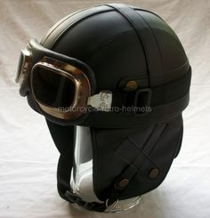 OUTRIDER retro leather motorcycle helmet, sadly not DOT rated.