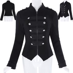 Kk Women Military Button Decorated Zipper Blazer Ladies Long Sleeve Jacket♡Black