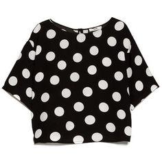 4b54bdb6ff8 Flowy polka-dot print blouse round neck