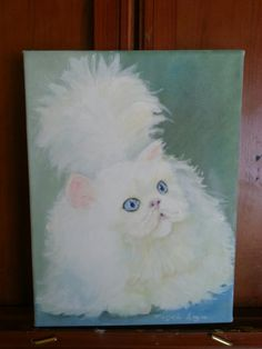 Angora White Cat Oil Portrait Painting Cat by PaintingsByMargie Angora Cats, Oil Portrait, Ravens, Animal Paintings, Pet Portraits, Cat Lady, Art Photography, Original Paintings, Hand Painted