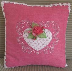 """""""Rosebud Heart Cushion"""" A free standing Organza rosebud, is the focal point of this heart shaped applique with options (and instructions) to create a lovely cushion or purse. Great gift project for Valentine's! Machine Embroidery Projects, Machine Embroidery Applique, Custom Embroidery, Embroidery Thread, Embroidery Ideas, Embroidery Services, Embroidery Software, Heart Cushion, Pink Umbrella"""