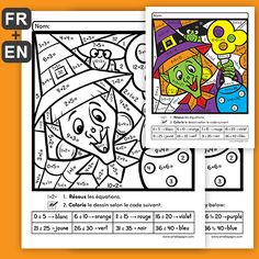 Color by number (multiplications, 3 divisions) Halloween Worksheets, Halloween Activities, Amelie Pepin, Bricolage Halloween, Fractions, Cycle 3, Halloween Coloring, Elementary Schools, Division