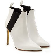 Rupert Sanderson Patent Leather Ankle Boots ($735) ❤ liked on Polyvore featuring shoes, boots, ankle booties, white, white stilettos, patent ankle boots, white booties, patent leather booties and white stiletto boots