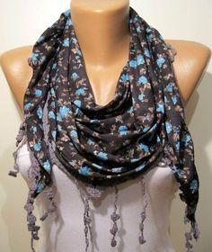 Dark Grey and Elegance Shawl / Scarf  with Lace by SwedishShop, $16.90 YES<3