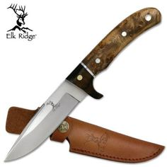 Elk Ridge Burl Wood Handle W/ Mirror Blade Fixed, Hunting Knife Knives Hunting Knives For Sale, Fixed Blade Hunting Knives, Fixed Blade Knife, 440 Stainless Steel, Collectible Knives, Tactical Pocket Knife, Knife Handles, Brown Leather Belt, Knives And Tools