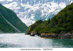 Aialik Glacier Entrance in Kenai Fjords National Park - stock photo