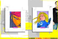 Sketch Card Marvel Women II - Gabriel Tardivo - Elektra & Sue Storm