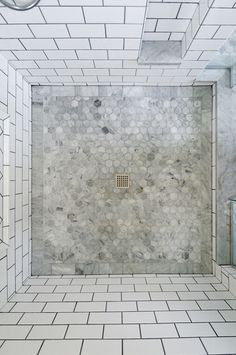 White marble floor tile subway floor tiles for bathroom marble bathroom wall tiles shower floor tile ideas white subway tile carrara marble look ceramic Hexagon Tile Bathroom, Marble Bathroom Floor, Ceramic Tile Bathrooms, Shower Floor Tile, Retro Bathrooms, Hexagon Tiles, Bathroom Flooring, Small Bathroom, Marble Floor