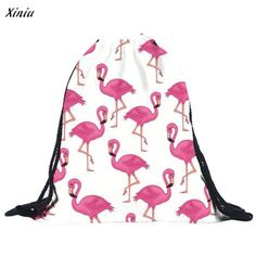2017 New Arrival women mochila Unisex Flamingos Pattern Backpacks 3D Printing Bags Drawstring Backpack bag ladies free shipping