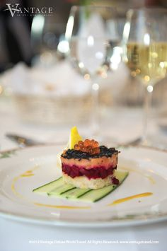 River Discovery II Netherlands, Appetizer: Fresh Salmon tatar topped with red caviar on cucumber carpaccio. #food #travel