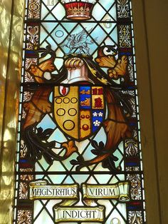 Gothic coat of arms Stained Glass Windows | Lowther coat of arms, stained glass window of St Michael's Church ...