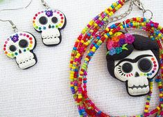 a delightful Day of the Dead necklace/earring set