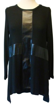 """Atina Christina """"Melissa"""" Black Sweater Tunic With Black Faux Leather Cross Detail"""