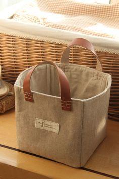 Set of 2 Organizer/ Basket/ Fabric Organizer/ Storage Container/ Linen Cotton Fabric home decor
