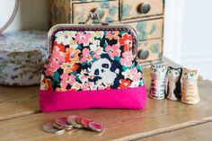 Frame purse made with a fun Panda hiding in by CrimsonRabbitBurrow