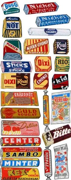 Swedish candy packaging 1960s