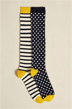 Blue/Yellow Spot And Stripe Welly Socks Two Pack