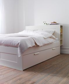 beds brimnes bed frame with storage slatted bed basewhite