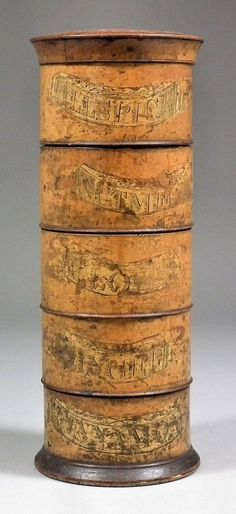A 19th Century sycamore five tier spice tower, 9.5