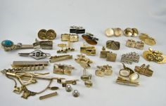 Vintage Cufflinks Lot Some Signed Swank Anson Tie Bars Figural Advertising