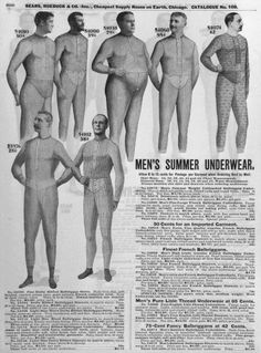 HISTORY STYLE Celebrate 80 Years of Briefs With 13 Vintage Photos of Men's Underwear Lily Rothman @lilyrothman  Jan. 19, 2015  (Page of Sear's catalogue, advertising men's summer underwear, circa 1890-1910.)