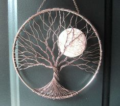 Calming Tree, Wire Tree of Life Wall Hanging, Sun Catcher, Tree Decor with Howlite Moon by ramona Dreamcatchers, Dream Catcher Craft, Homemade Dream Catchers, Dream Catcher Patterns, Diy Tumblr, Wire Trees, Macrame Patterns, Wire Crafts, Wire Art