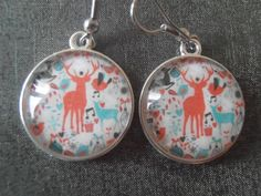 Christmas Earrings Christmas Jewelry Reindeer Earrings Reindeer Jewelry Holiday Jewelry Silver Jewelry Holiday earrings