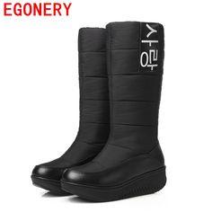 Egonery 신발 2017 겨울 새로운 여성 스노우 부츠 여성 겨울 패션 따뜻한 신발 여성 무릎 높은 모피 부츠 플러스 사이즈 44 CN