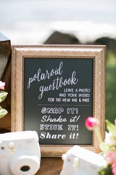 "Polaroid Guest Book Sign - something similar to this but maybe on a platform so its visible. Also might want it with a white background and gold writing to match the "".hunt is over sign"" Photo Guest Book, Guest Book Table, Guest Book Sign, Guest Books, Wedding Book, Diy Wedding, Rustic Wedding, Dream Wedding, Wedding Ideas"