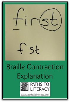 Tips for helping braille readers make sense of contractions (Image: the word 'first' written in print as it would be contracted in braille 'f' and 'st'; Student Teaching, Teaching Tools, Teaching Ideas, Braille Reader, Braille Alphabet, We Are Teachers, Vision Therapy, New Things To Learn, Book Activities