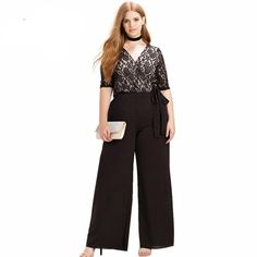 This plus size black floral lace jumpsuit is definitely meant for an evening out on the town! Jumpsuit is made from high quality Acetate, Cotton and Spandex and features a full length wide legged bottom with a half sleeve floral lace top. Jumpsuit has an empire waistline with tie belt/sash. Available in US sizes 12, 14, 16 and 18
