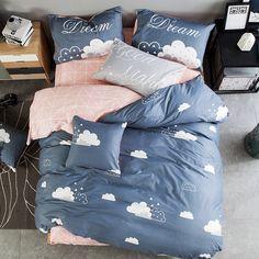 Cheap Estilo fresco nube/limón/rejilla juegos de cama 100% algodón ropa de cama de la Reina/rey funda nórdica + hoja plana + fundas de almohada colcha, Compro Calidad Conjuntos de ropa de cama directamente de los surtidores de China: 4 unids set incluye: 1 hoja + 1 funda nórdica + 2 funda de almohadatamaño: queen/kingtamaño queen (1.5 m-1.8 m cama anch