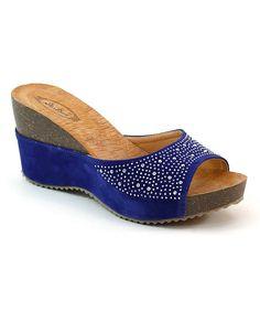 6f755c2fc061e4 Selina Blue Rhinestone Wedge Sandal