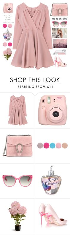 """MONOCHROME Pink"" by bartivana ❤ liked on Polyvore featuring Fujifilm, Gucci, Nails Inc., Lolita Lempicka, National Tree Company, Sophia Webster and Monde Mosaic"