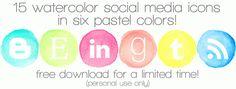 80+ FREE watercolor social media icons | crab+fish