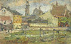 Zygmunt WALISZEWSKI ,Pejzaż miejski , olej, tektura, 30,5 x 46,5 cm