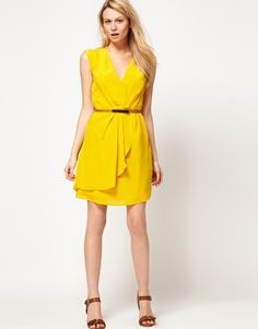 Oasis Silk V Neck Dress