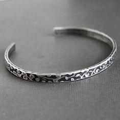 Mens Silver Cuff Bracelet Textured Pattern by LynnToddDesigns, $101.00