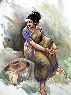 Oviyar Maruthi: May 2013 - Sudin Shrestha Oviyar Maruthi: May 2013 Source You are in the right place Indian Women Painting, Indian Art Paintings, Indian Artist, Indian Artwork, Human Figure Sketches, Figure Sketching, Sketch Painting, Watercolor Artwork, Sexy Painting