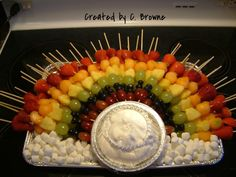 My Rainbow Fruit Kabobs on a cloud of marshmallows and whipped cream.  Ingredients order per skewer: Strawberry, Cantaloupe, Pineapple, Green Grape, Blueberries x2, Red Grape. - See this image on Photobucket.