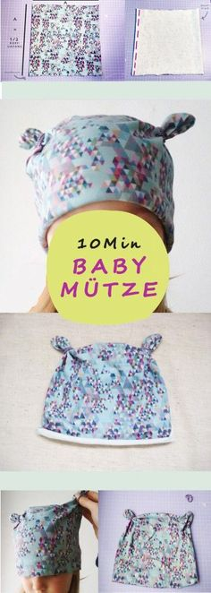 Fantastic Totally Free simple knitting for kids Thoughts Babymütze nähen – Anleitung mit einfachem Schnittmuster Baby Knitting Patterns, Baby Clothes Patterns, Easy Sewing Patterns, Baby Patterns, Sewing Tutorials, Crochet Patterns, Pattern Sewing, Sewing Projects, Tutorial Sewing