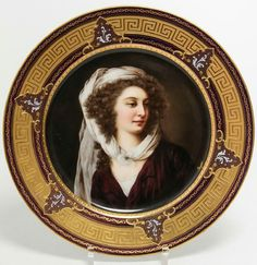 "Royal Vienna Austria porcelain cabinet plate, the central portrait signed ""Geyer,"" antique 19th century, the underside with a blue Royal Vienna beehive mark. 10.15"" diameter."