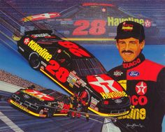 Davey Allison and the TEXACO Havoline team as depicted in the artwork of Sam Bass.