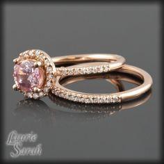 Pink Sapphire and Diamond Pink Gold Wedding Ring Set   LS1806