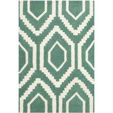 Handgefertigter Teppich Evans Chatham in Blaugrün/ Elfenbein