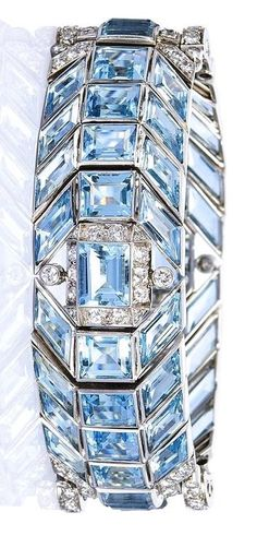 An Art Deco Aquamarine and Diamond Bracelet, circa 1935.