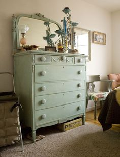 Love old furniture and painted wood and that shade of green.
